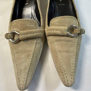 PRADA Taupe Suede Leather Pointed Toe Kitten Heel